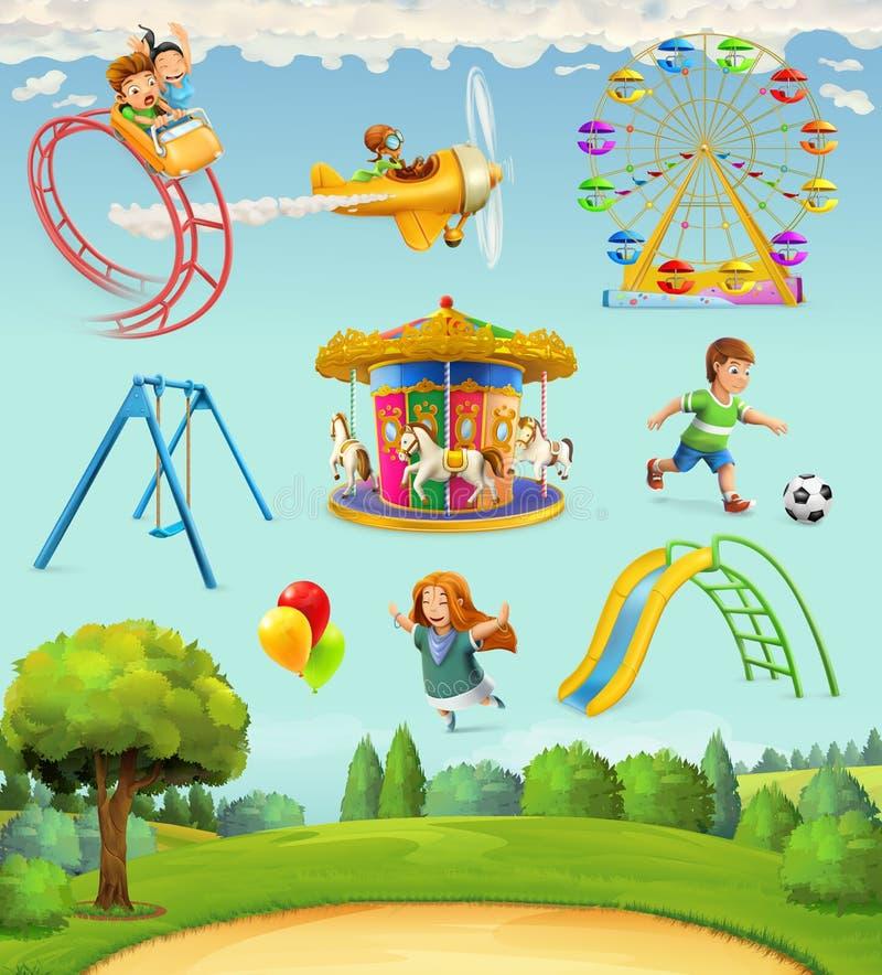 De pictogrammen van de kinderenspeelplaats royalty-vrije illustratie