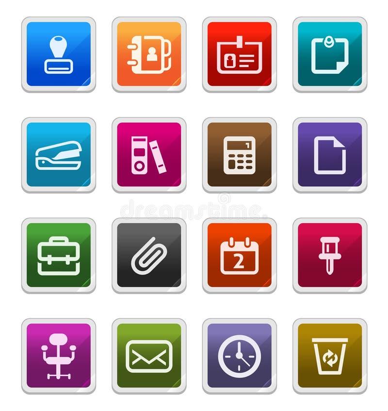 De Pictogrammen van de Levering van het bureau - stickerreeks vector illustratie