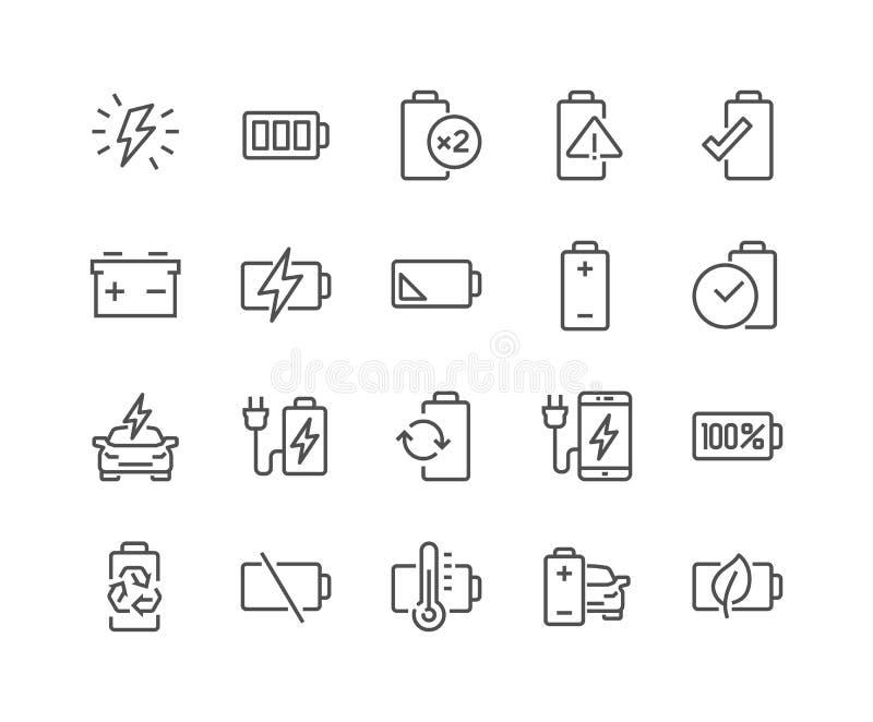 De Pictogrammen van de lijnbatterij stock illustratie
