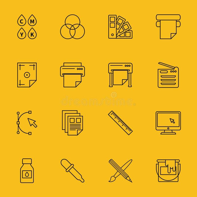 De pictogrammen van de lijndruk royalty-vrije illustratie