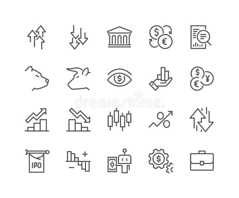 De Pictogrammen van de lijnEffectenbeurs vector illustratie
