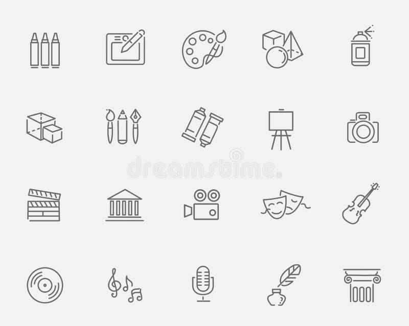 De pictogrammen van de lijnkunst Muziek, theater en artistieke pictogrammen stock illustratie