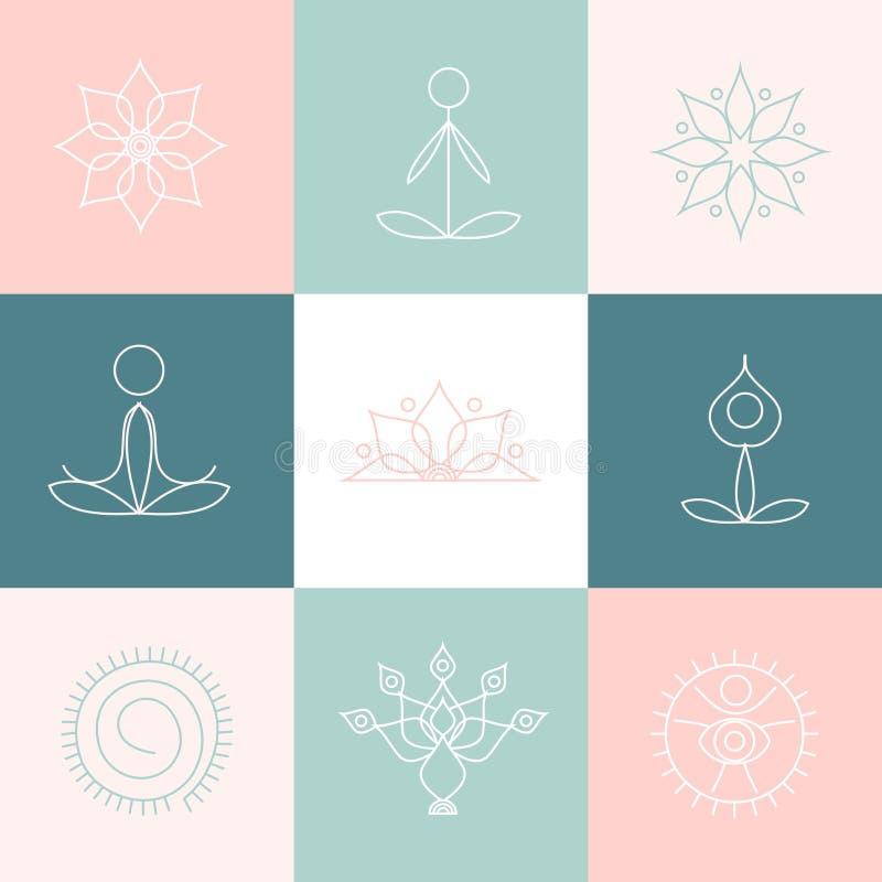 De pictogrammen van de lijnyoga, grafische ontwerpelementen voor emblemen, malplaatjes, kuuroordcentrum, studio royalty-vrije illustratie