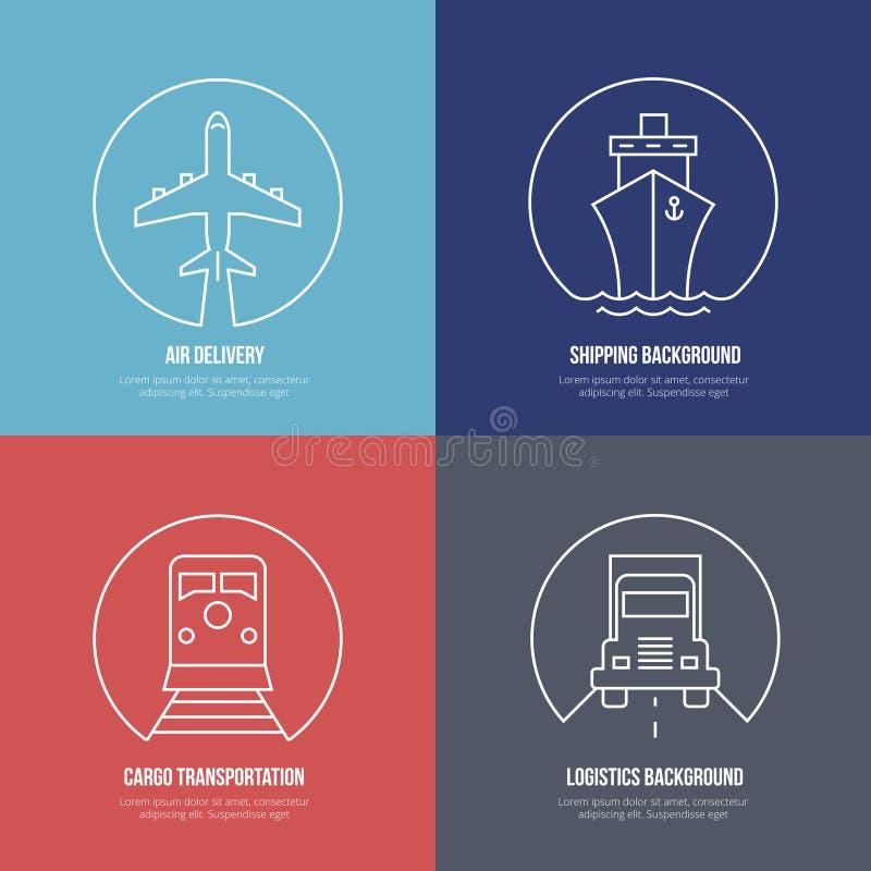 De pictogrammen van de logistieklijn Het vervoer van de luchtpostlading stock illustratie