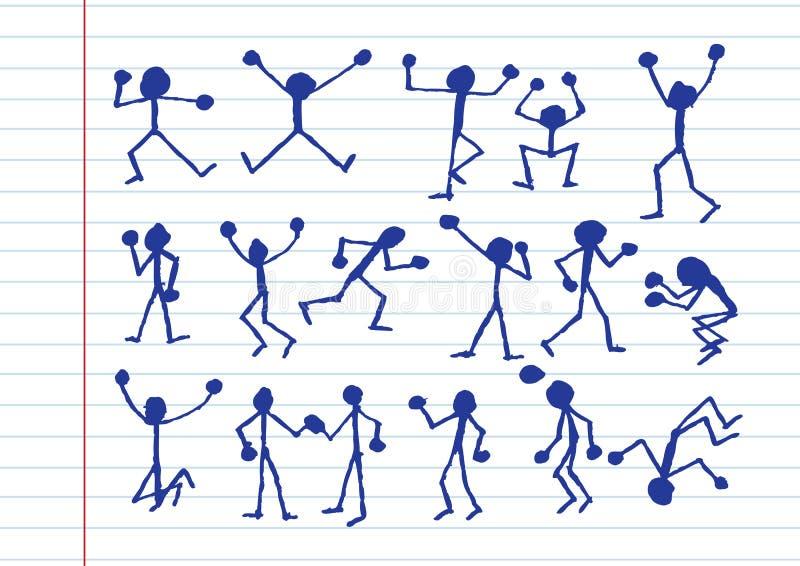 De pictogrammen van de mensenactiviteit in illustratie stock illustratie