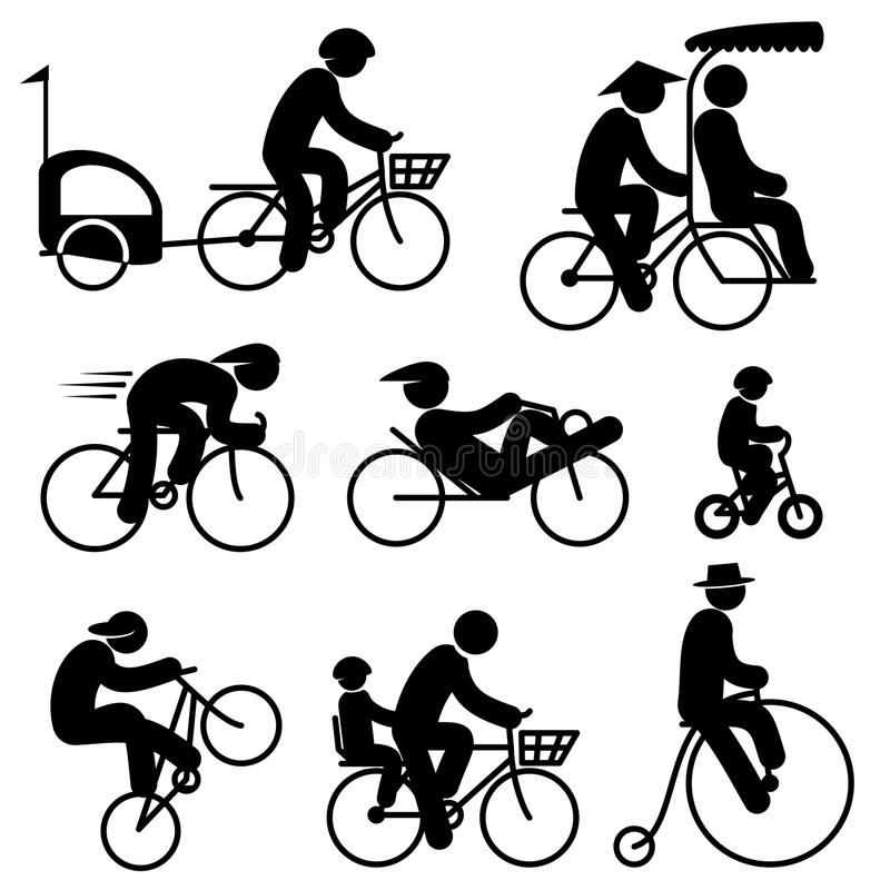 De pictogrammen van de mensenfietser royalty-vrije illustratie