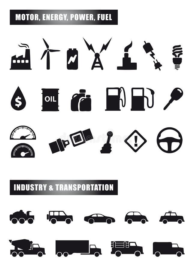 De pictogrammen van de motor en van de macht royalty-vrije illustratie