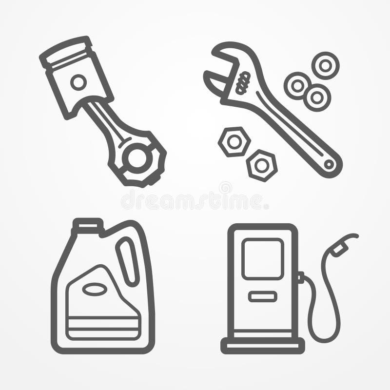 De pictogrammen van de motorfietsdienst stock illustratie