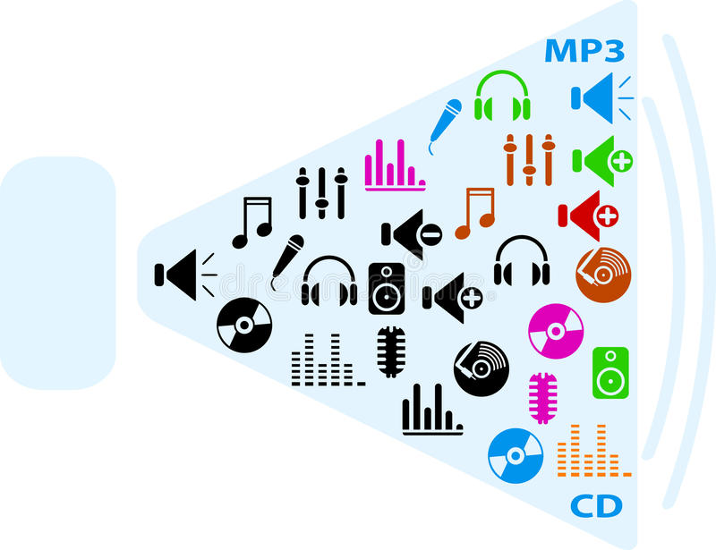 De pictogrammen van de muziek vector illustratie