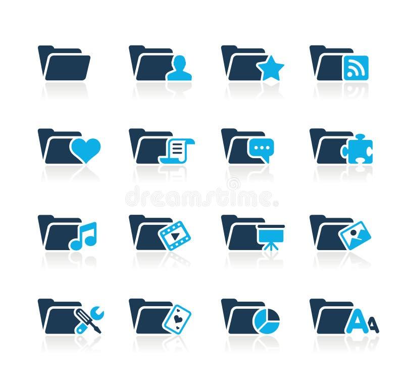 De Pictogrammen van de omslag - 2 Azuurblauwe Reeksen van // vector illustratie