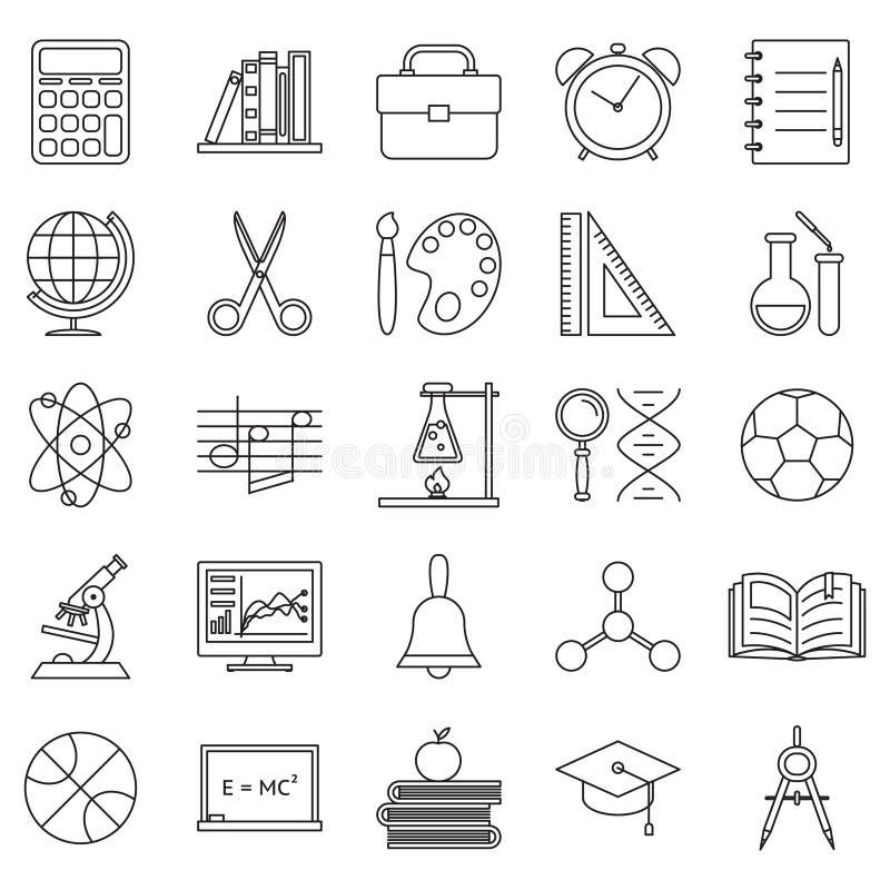 De pictogrammen van de onderwijsschool geplaatst lijnkunst vectorillustratie vector illustratie