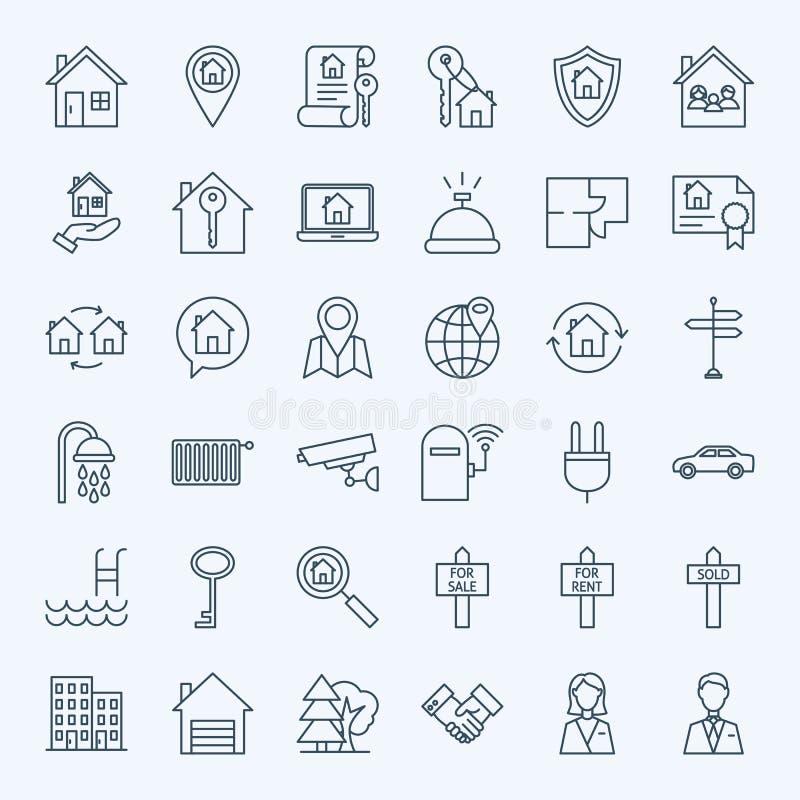 De Pictogrammen van de Onroerende goederen van de lijn vector illustratie