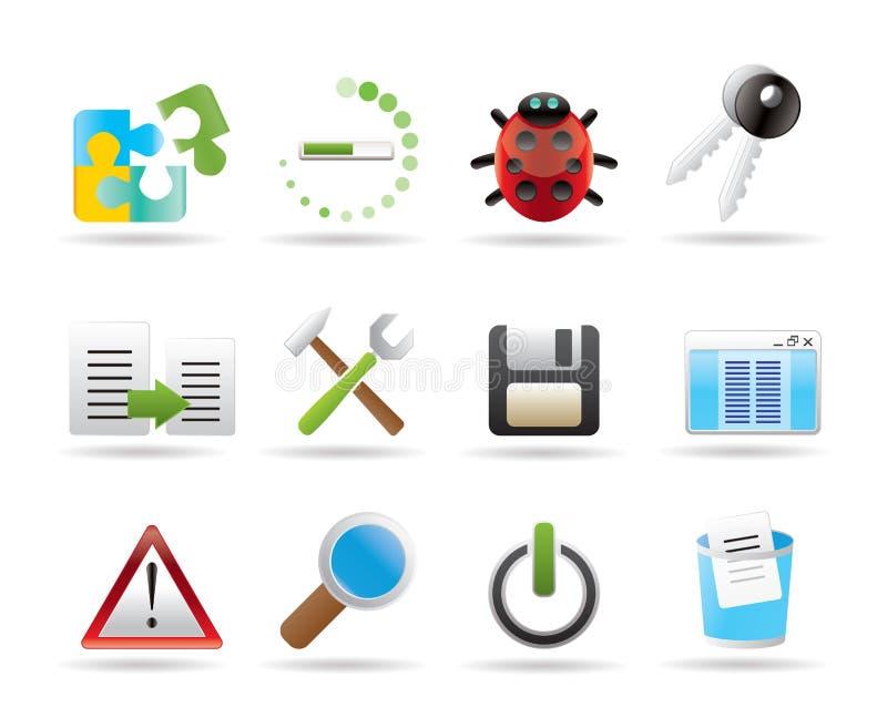 De pictogrammen van de ontwikkelaar, van de programmering en van de toepassing royalty-vrije illustratie