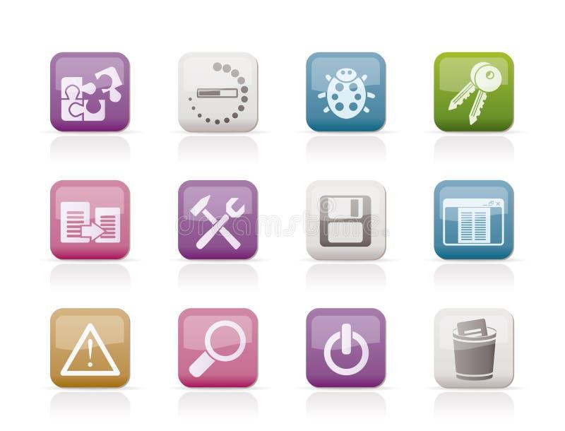 De pictogrammen van de ontwikkelaar, van de programmering en van de toepassing vector illustratie