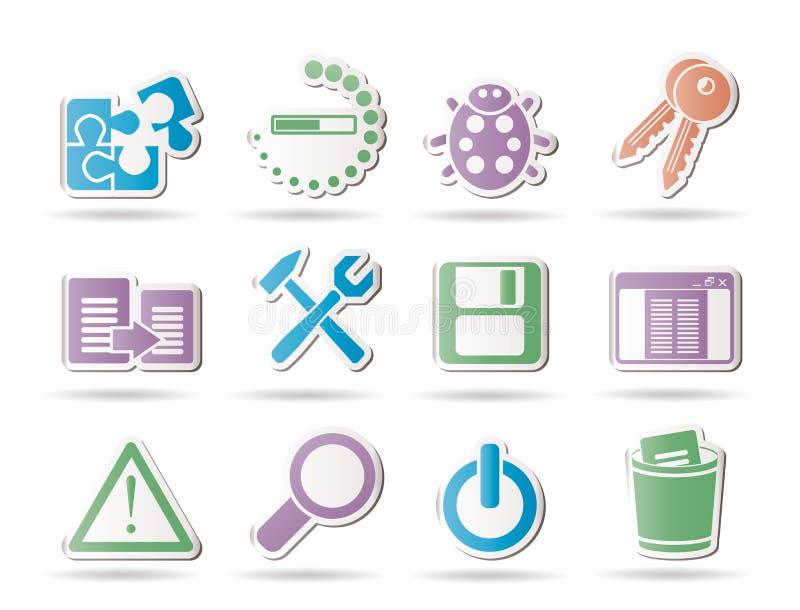 De pictogrammen van de ontwikkelaar, van de programmering en van de toepassing stock illustratie