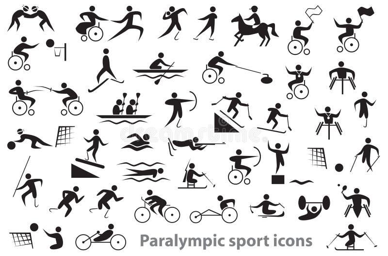 De pictogrammen van de Paralympicsport stock afbeeldingen