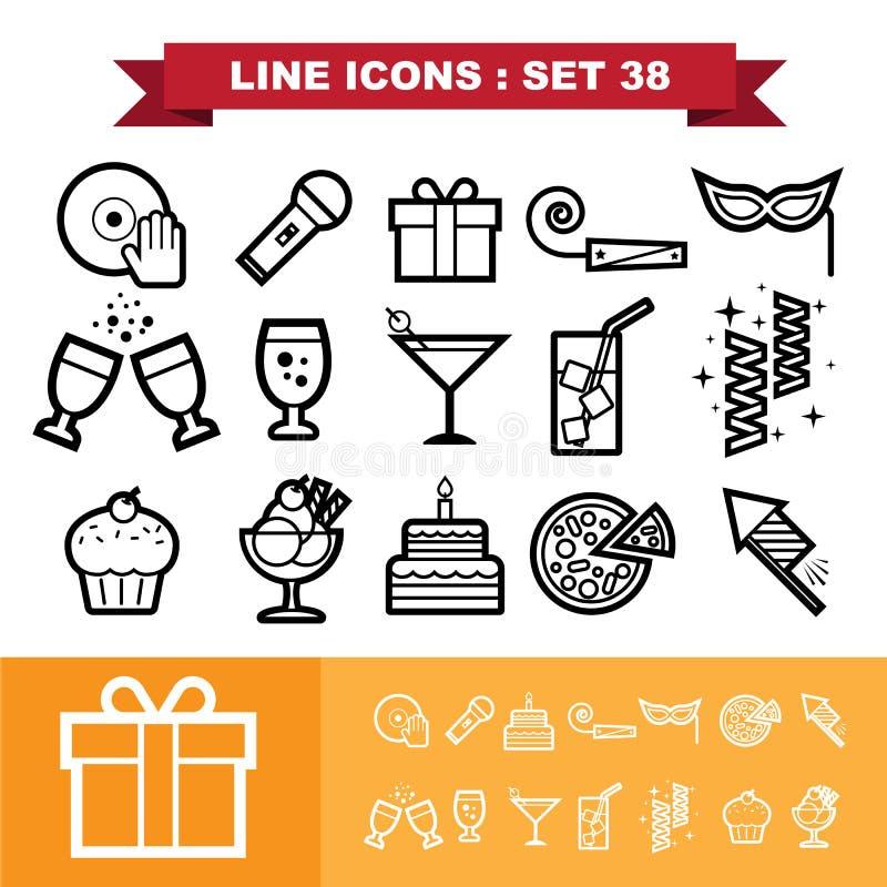 De pictogrammen van de partijlijn plaatsen 38 royalty-vrije illustratie