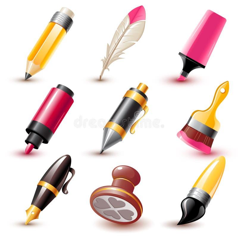 De pictogrammen van de pen vector illustratie