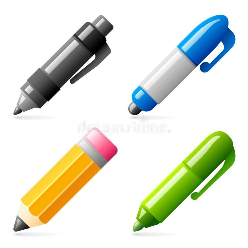 De pictogrammen van de pen en van het potlood royalty-vrije illustratie
