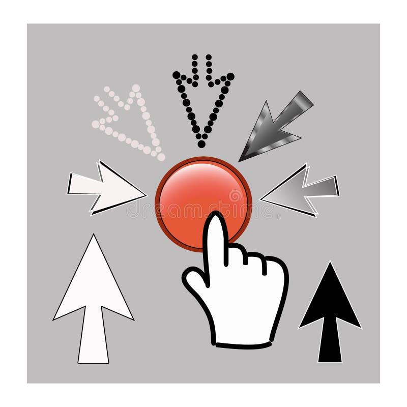 De pictogrammen van de pixelcurseur: van de muishand en pijl wijzers vector illustratie