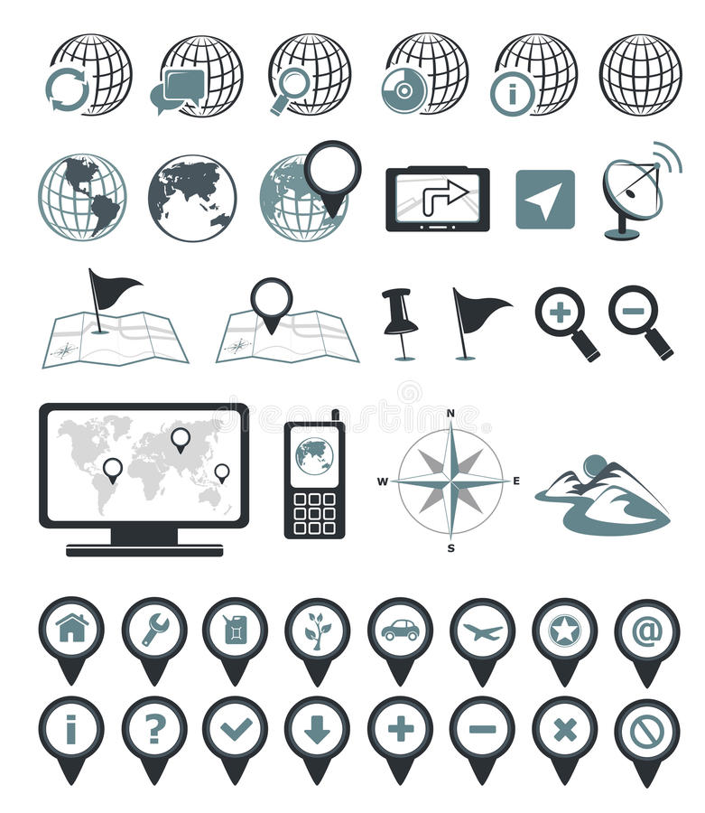De pictogrammen van de plaats en van de bestemming vector illustratie