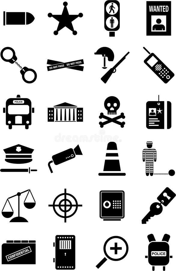 De pictogrammen van de politie en van de wet royalty-vrije illustratie