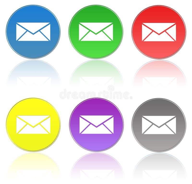 De pictogrammen van de post Gesloten geweeste en geopende envelop met verschillende tekens stock illustratie