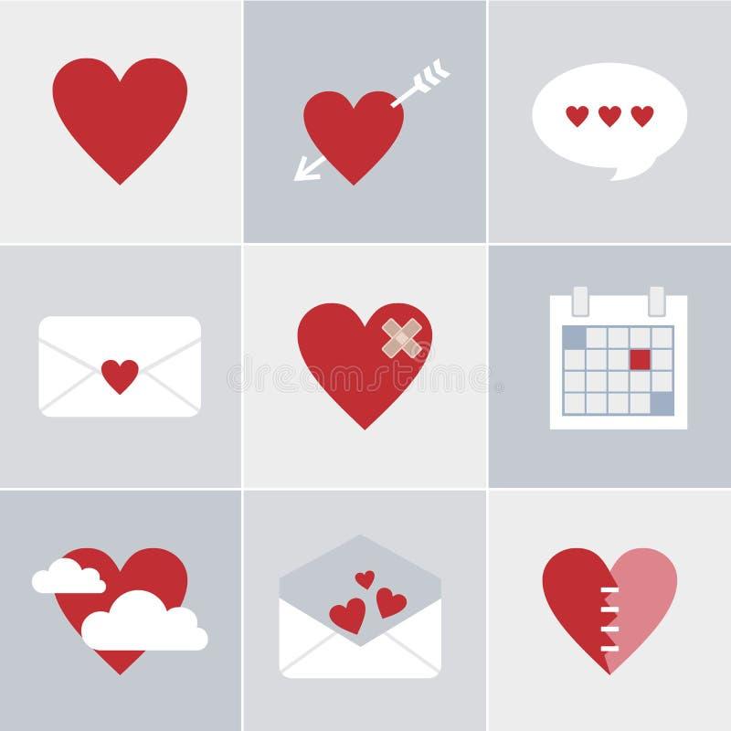 De pictogrammen van de postliefde stock illustratie