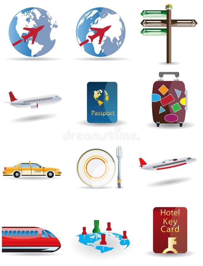 De pictogrammen van de reis en van de bol stock afbeelding
