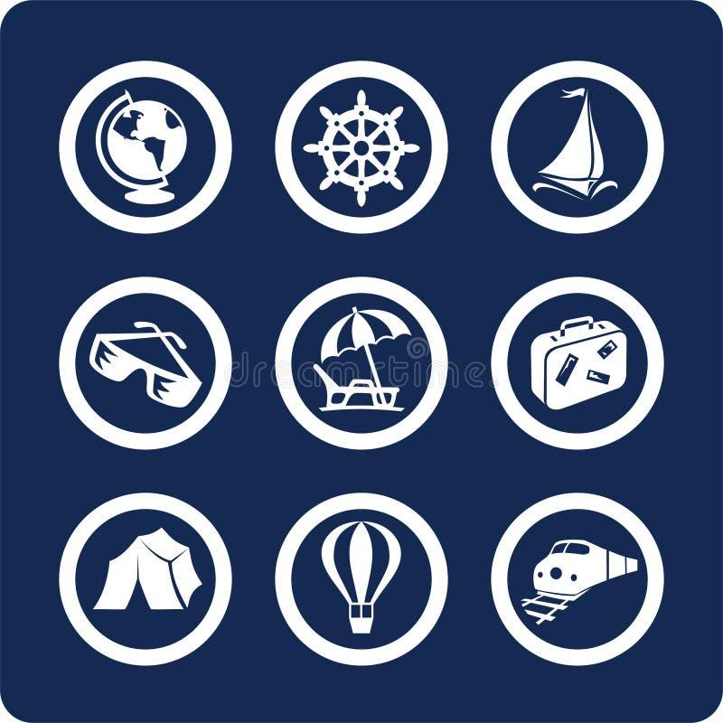 De pictogrammen van de reis en van de Vakantie (plaats 13, deel 1) stock illustratie