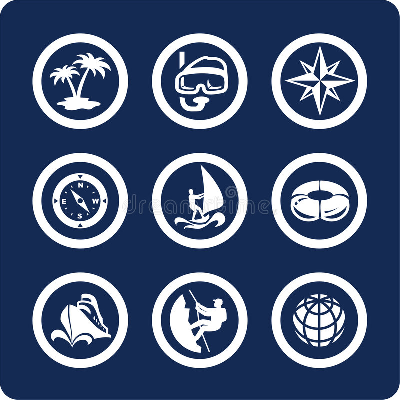 De pictogrammen van de reis en van de Vakantie (plaats 13, deel 2) vector illustratie
