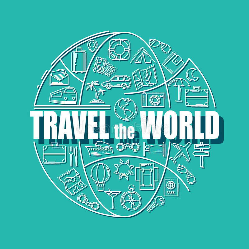 De pictogrammen van de reislijn in bolvorm Reis de wereld - vectorillustratieconcept voor dekkingskaart, brochure of tijdschrift stock illustratie