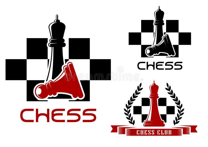 De pictogrammen van de schaakclub met koningin en pand stock illustratie