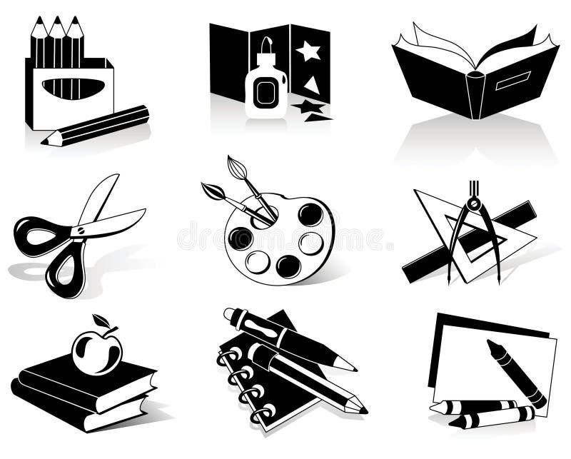 De pictogrammen van de school vector illustratie