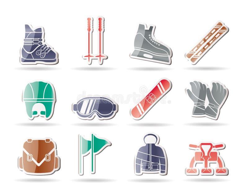 De pictogrammen van de ski en snowboard apparatuur vector illustratie