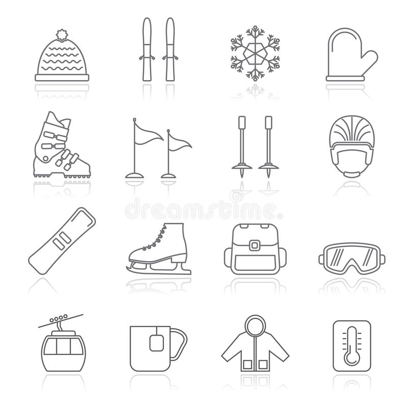De pictogrammen van de ski en snowboard apparatuur royalty-vrije stock foto's