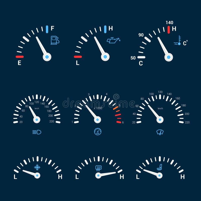 De pictogrammen van de snelheidsmeterinterface vector illustratie