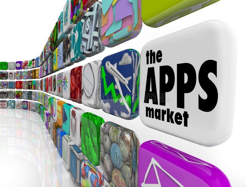 De pictogrammen van de Software van de Toepassing van de Muur van de Markt Apps royalty-vrije illustratie