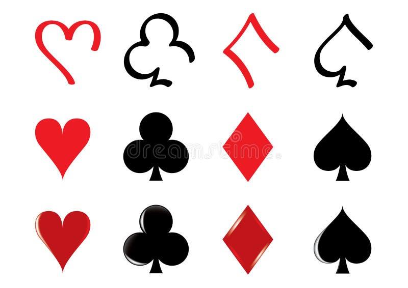 De Pictogrammen van de speelkaart stock illustratie