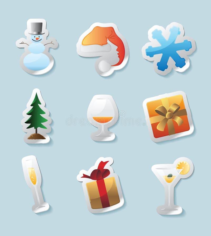 De pictogrammen van de sticker voor Kerstmis vector illustratie