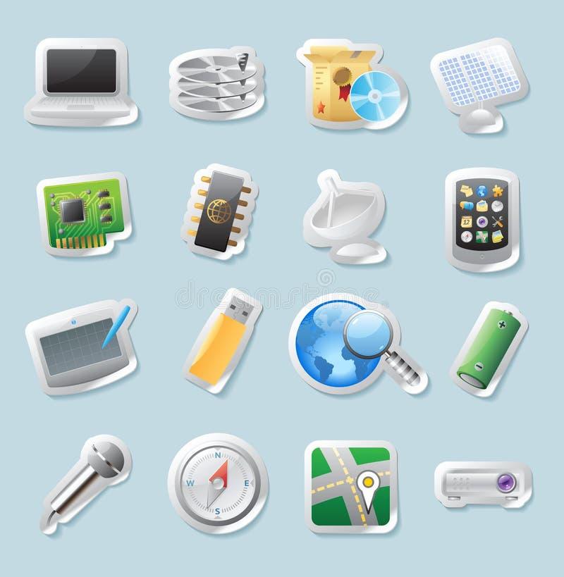 De pictogrammen van de sticker voor technologie en apparaten stock illustratie