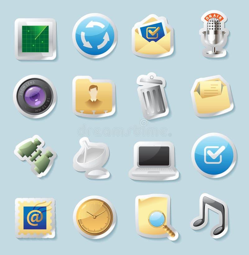 De pictogrammen van de sticker voor tekens en interface royalty-vrije illustratie