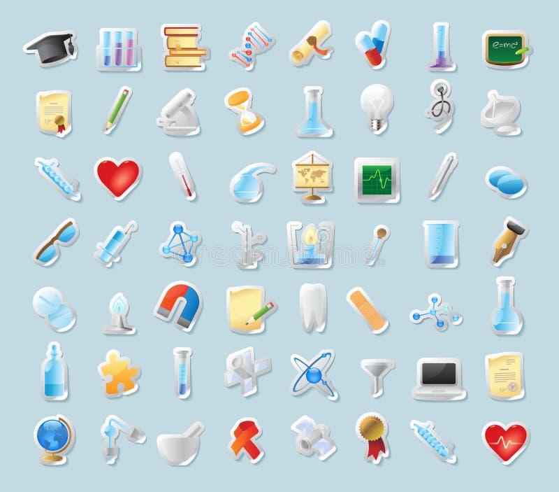De pictogrammen van de sticker voor wetenschap en onderwijs vector illustratie