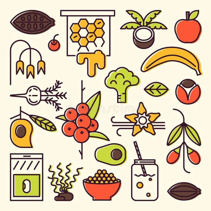 De pictogrammen van de Superfoodsrassenbarrière vector illustratie