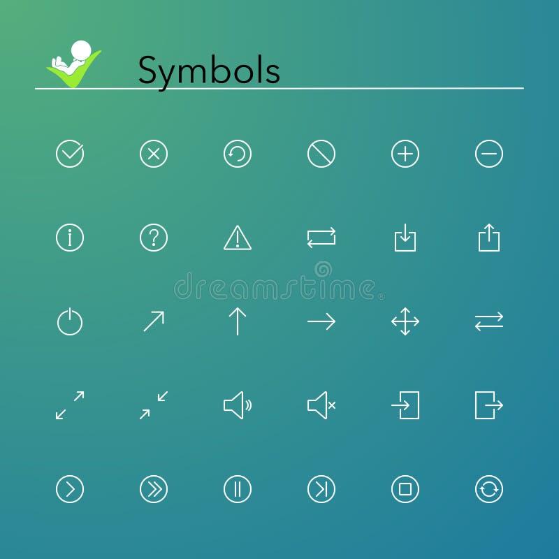 De Pictogrammen van de symbolenlijn stock illustratie
