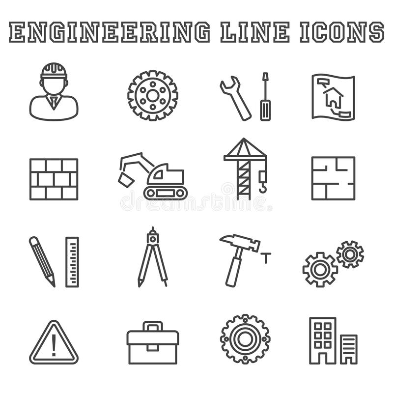 De pictogrammen van de technieklijn stock illustratie