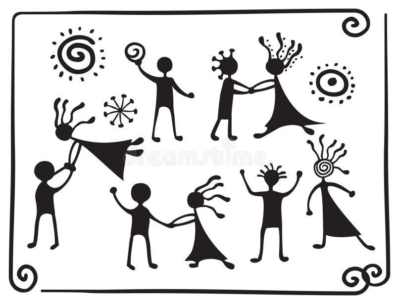 De pictogrammen van de tekening van dansende mensen stock illustratie