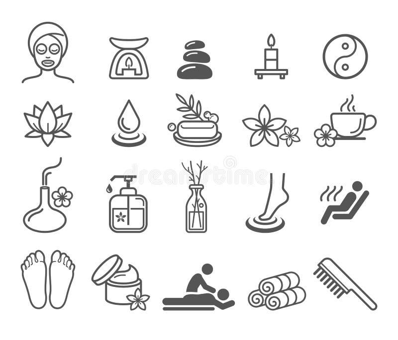 De pictogrammen van de therapieschoonheidsmiddelen van de kuuroordmassage vector illustratie