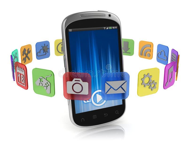 De pictogrammen van de toepassing rond slimme telefoon - app concept stock illustratie