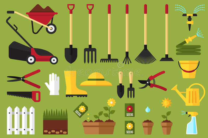 De pictogrammen van de tuin stock illustratie